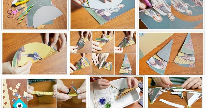 India now creative christmas tree for kids making tutorial from india now creative christmas tree for kids making tutorial from used pamphlets brochures solutioingenieria Images