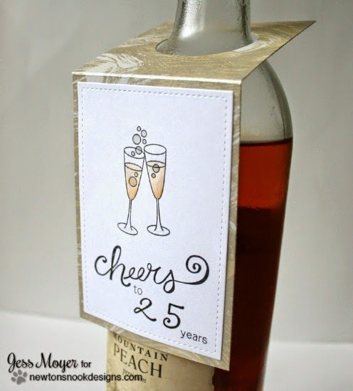 Cheers Champange Bottle Tag by Jess Moyer |  Years of Cheers stamp set by Newton's Nook Designs