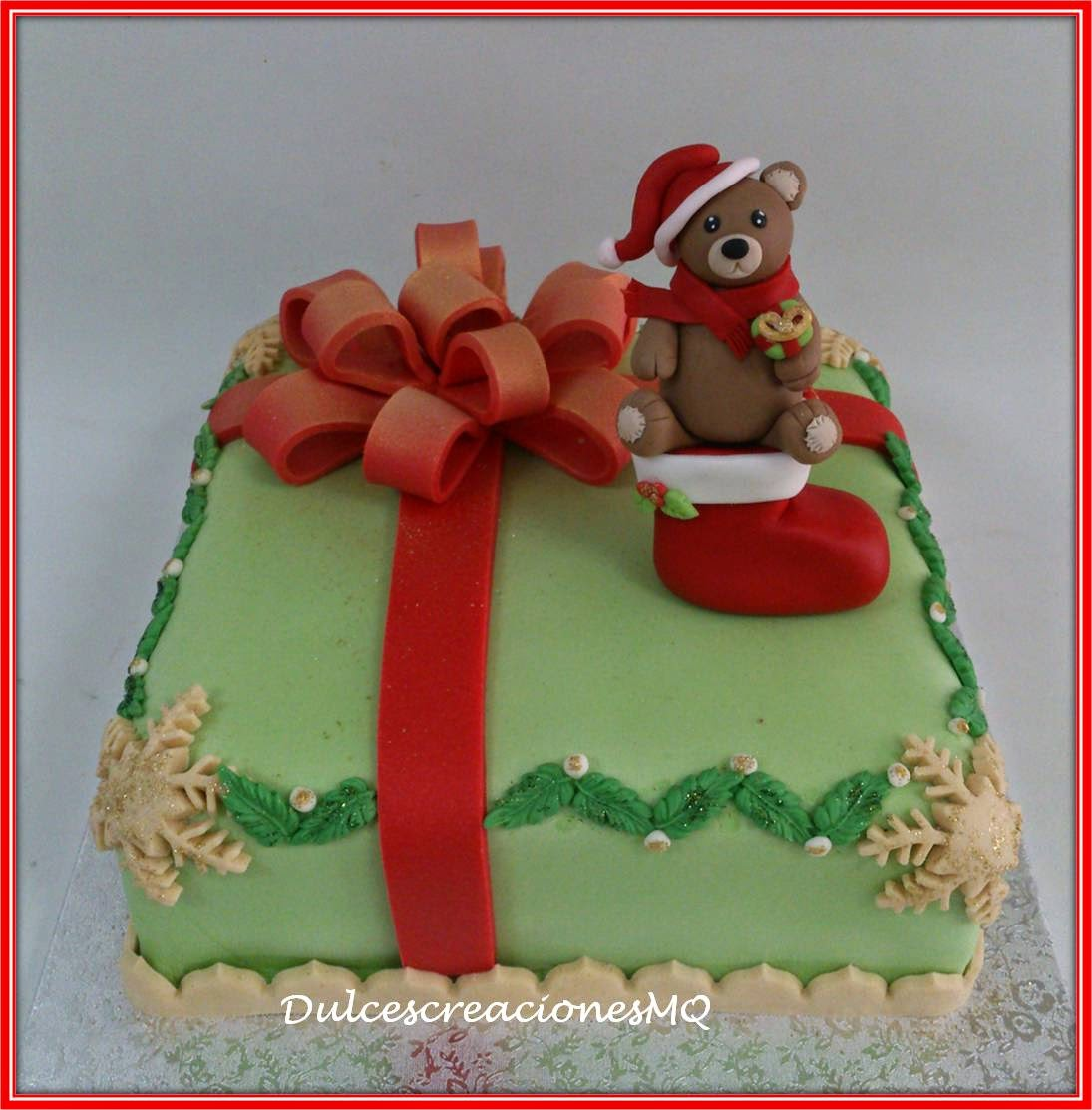Tarta de Fondant Oso de Navidad