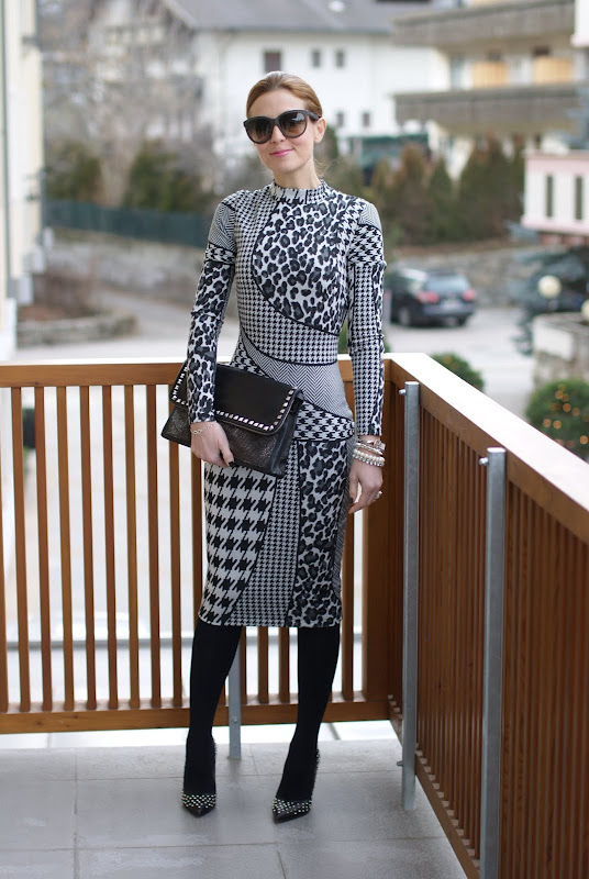 mixed prints asos dress, studded pums, pigalle lookalike