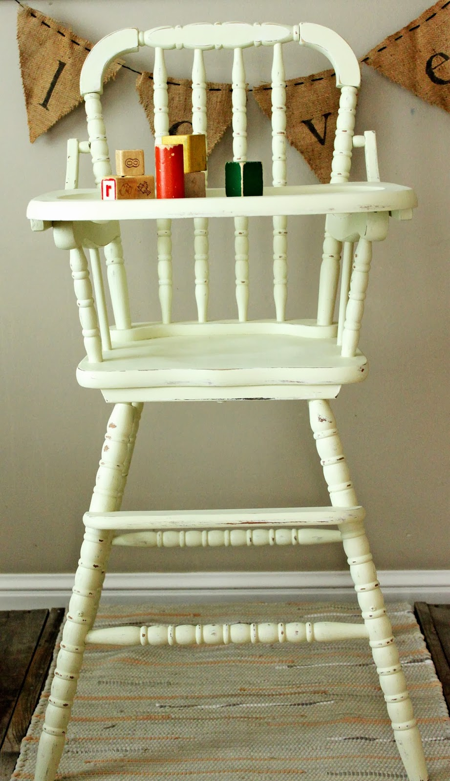 Painted wooden high chair - Painted Wooden High Chair