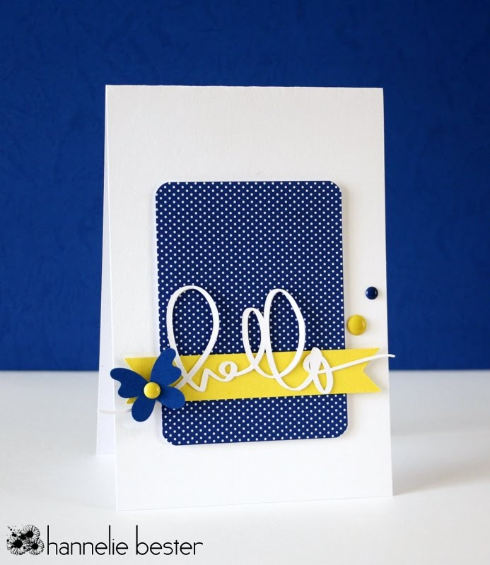 navy and yellow hello butterfly card