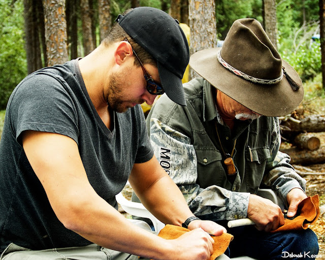 Ross Hinter patiently tries his hand at Flint Knapping