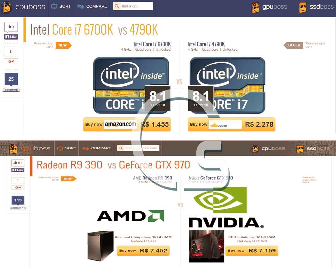 3 موقع لعمل مقارنة بين المعالجات وكروت الشاشة وهارد SSD