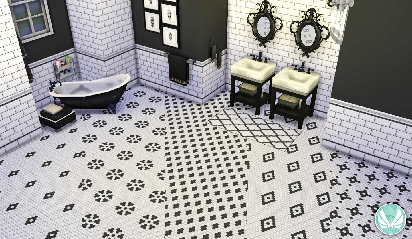 simsational designs black and white hexagon floor tiles. Black Bedroom Furniture Sets. Home Design Ideas