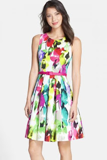 Eliza J Belted Print Faille Fit & Flare Dress (Regular & Petite)
