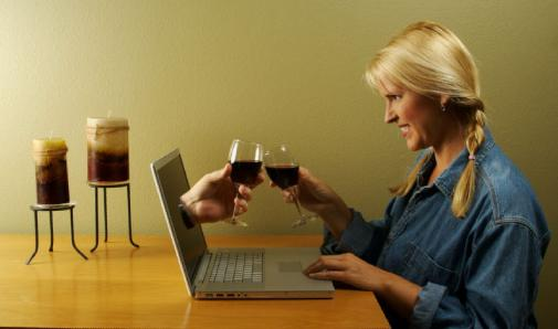 Are You Being E-Maintained - woman drink wine with laptop computer