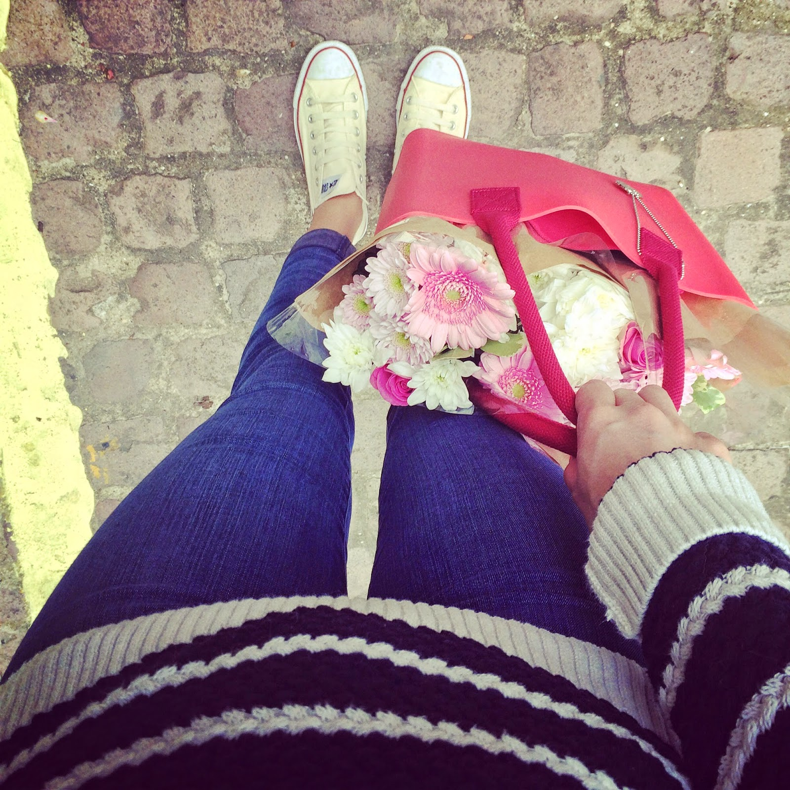 fablou, fablou bag, red bag, striped jumper, breton stripes, hobbs jumper, j brand jeans, converse and jeans, flowers, fwis, from where i stand
