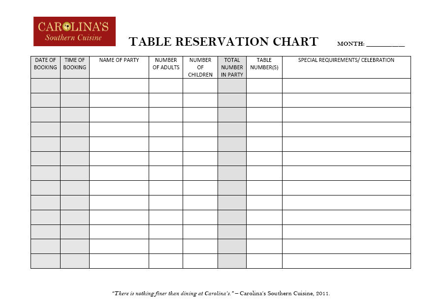 CSC Table Reservation Chart Vanessa J Thompson Illustration Design - Table reservation in restaurant