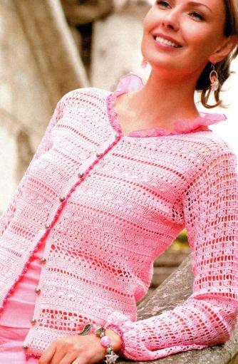 Кофточка крючком схема.  Модель кофточки взята из Журнала мод 559/2012 г.