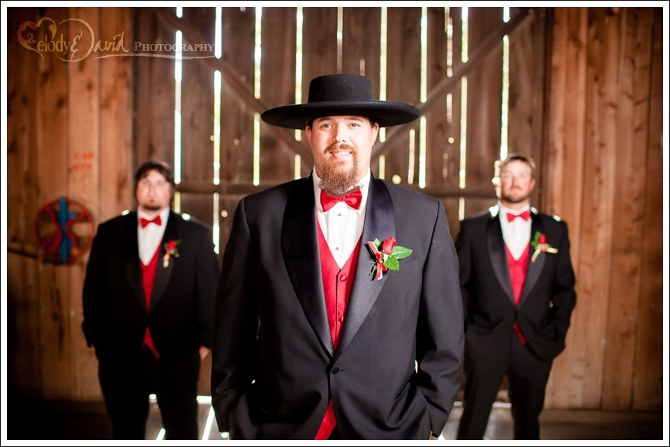 Groomsmen inside the barn at the Double-T