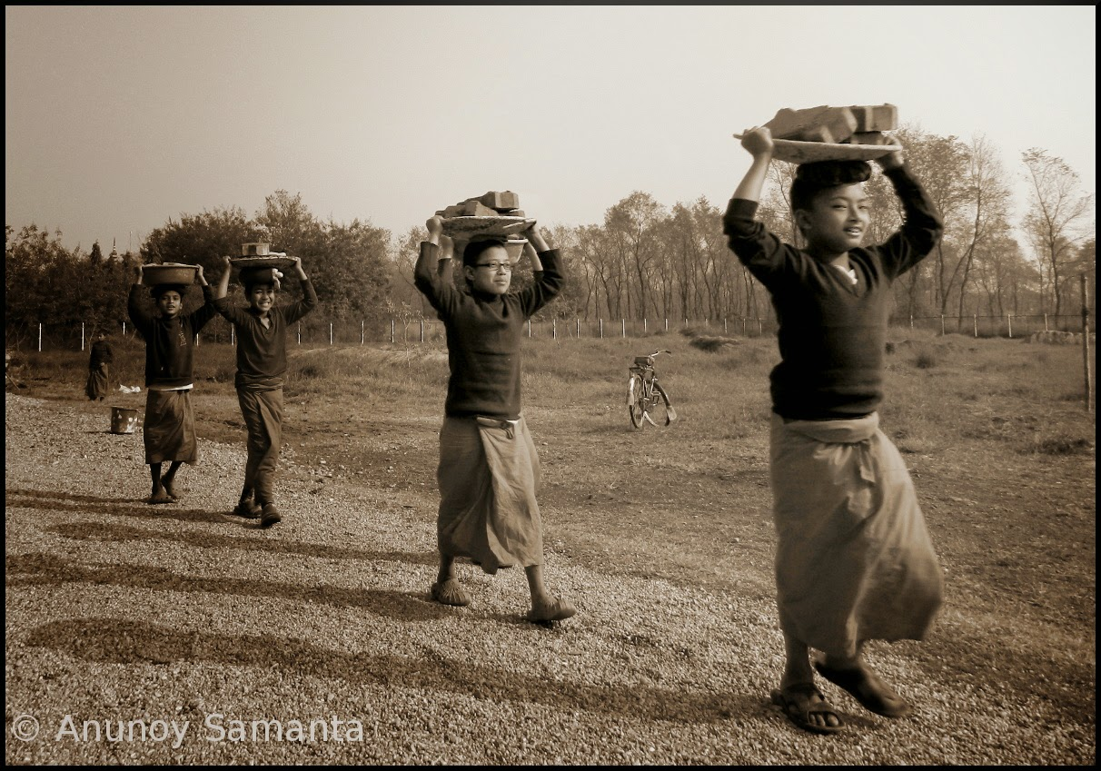 Samaneras at Work in Lumbini