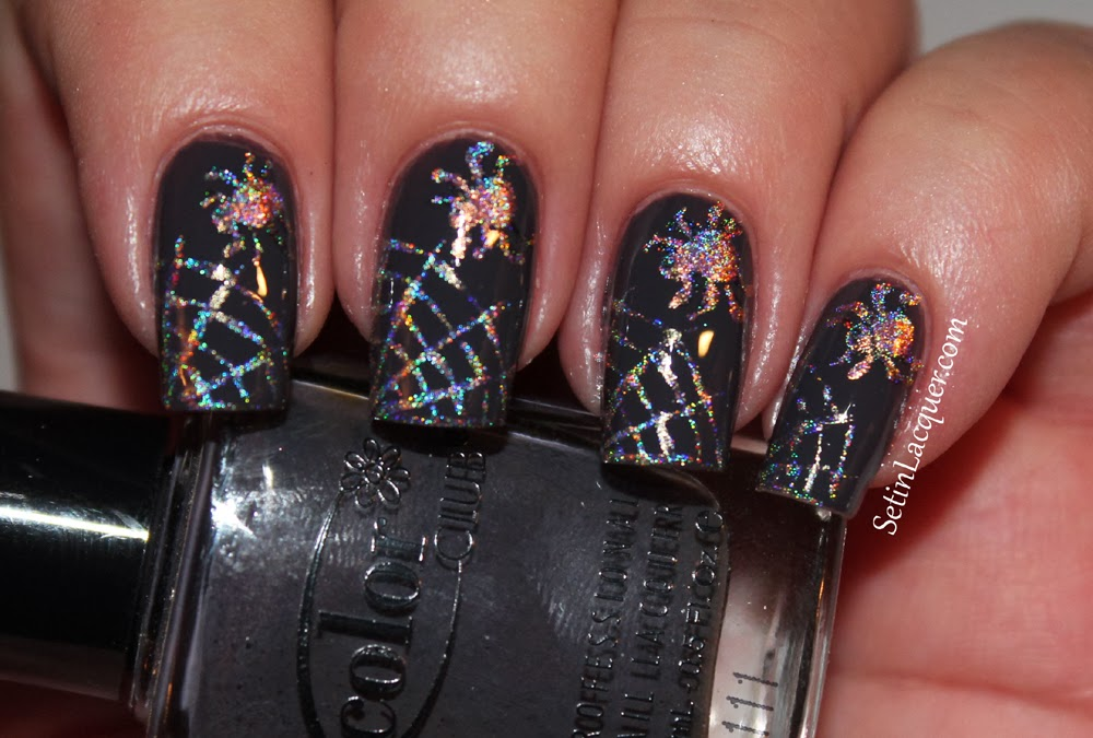 Halloween Nail Art - Spider and web