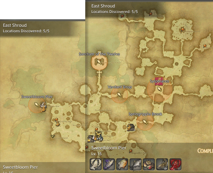 Final Fantasy 14 Fishing Spot Maps & Locations