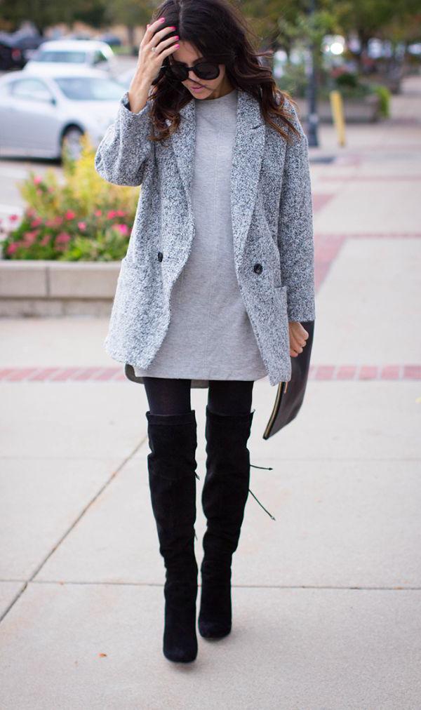 Ботфорты серые с чем носить фото