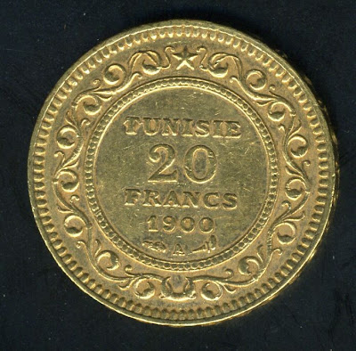 Gold Tunisian coins 20 francs