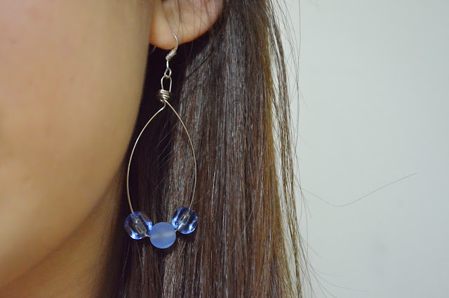 wire beads blue jewellery earring