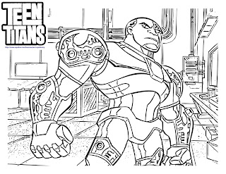 Teen Titans Go Coloring Pages Cyborg