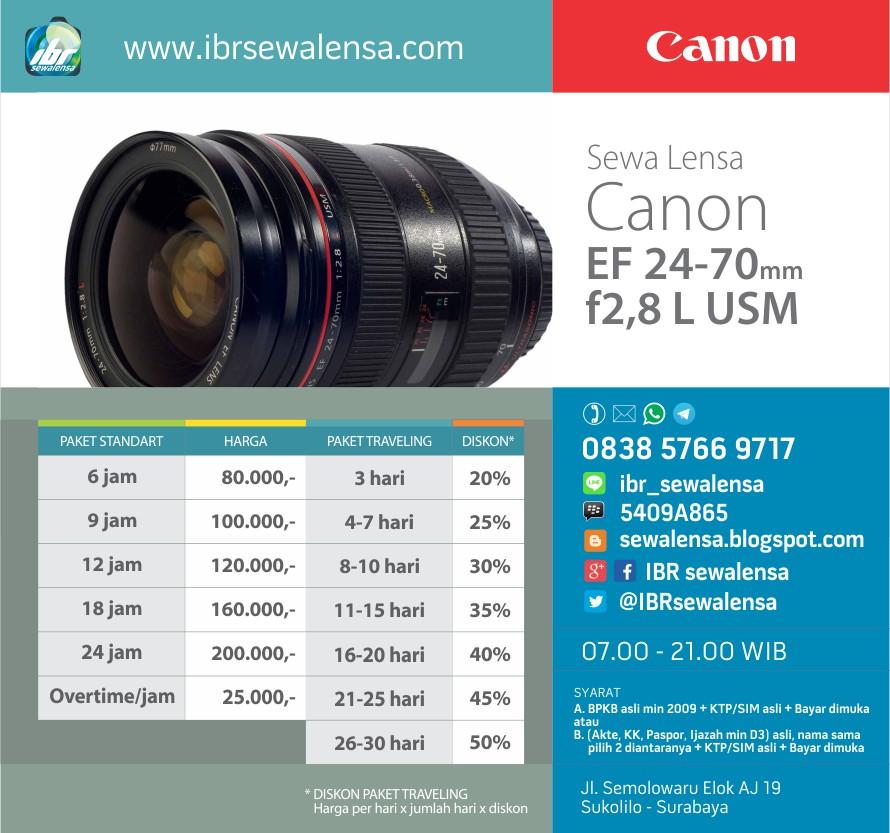 Harga sewa lensa Canon 24-70 mm F2.8 L USM