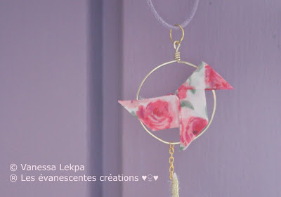 origami cocotte tissu collier attrape rêves plume evanescentes creations fait mains vanessa lekpa bijoux poétiques