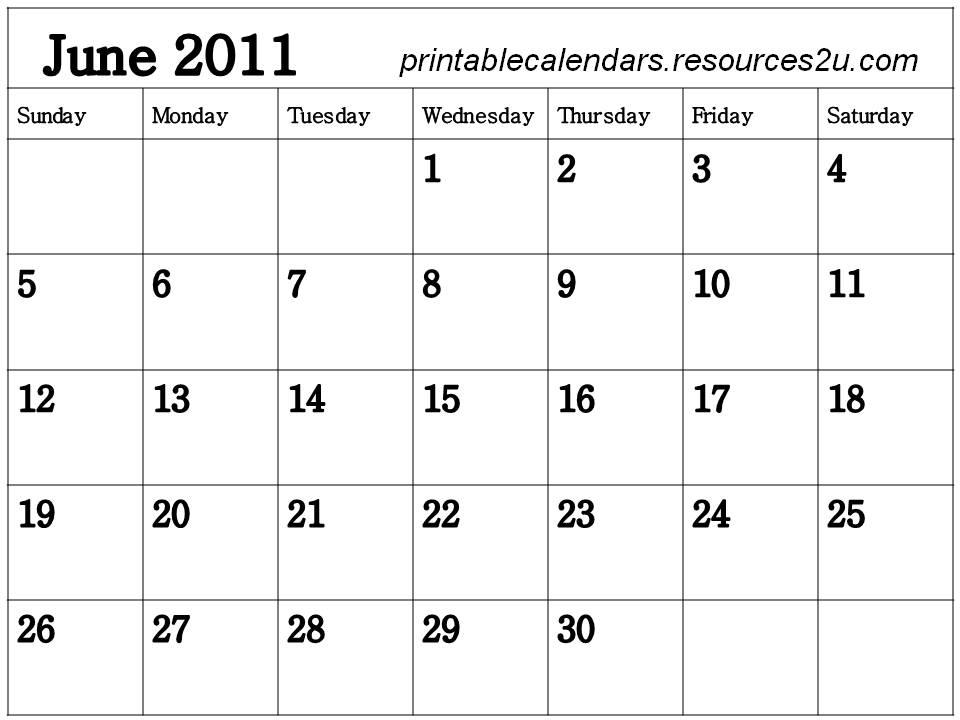 free printable blank calendars 2011. Free Blank Planner June 2011