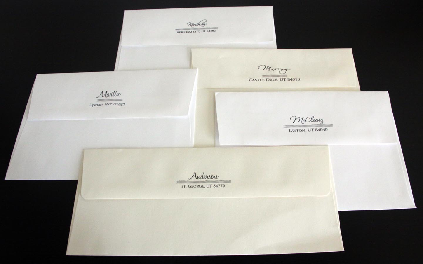 Kara39s koncepts graphic design custom wedding for Return address envelopes for wedding invitations