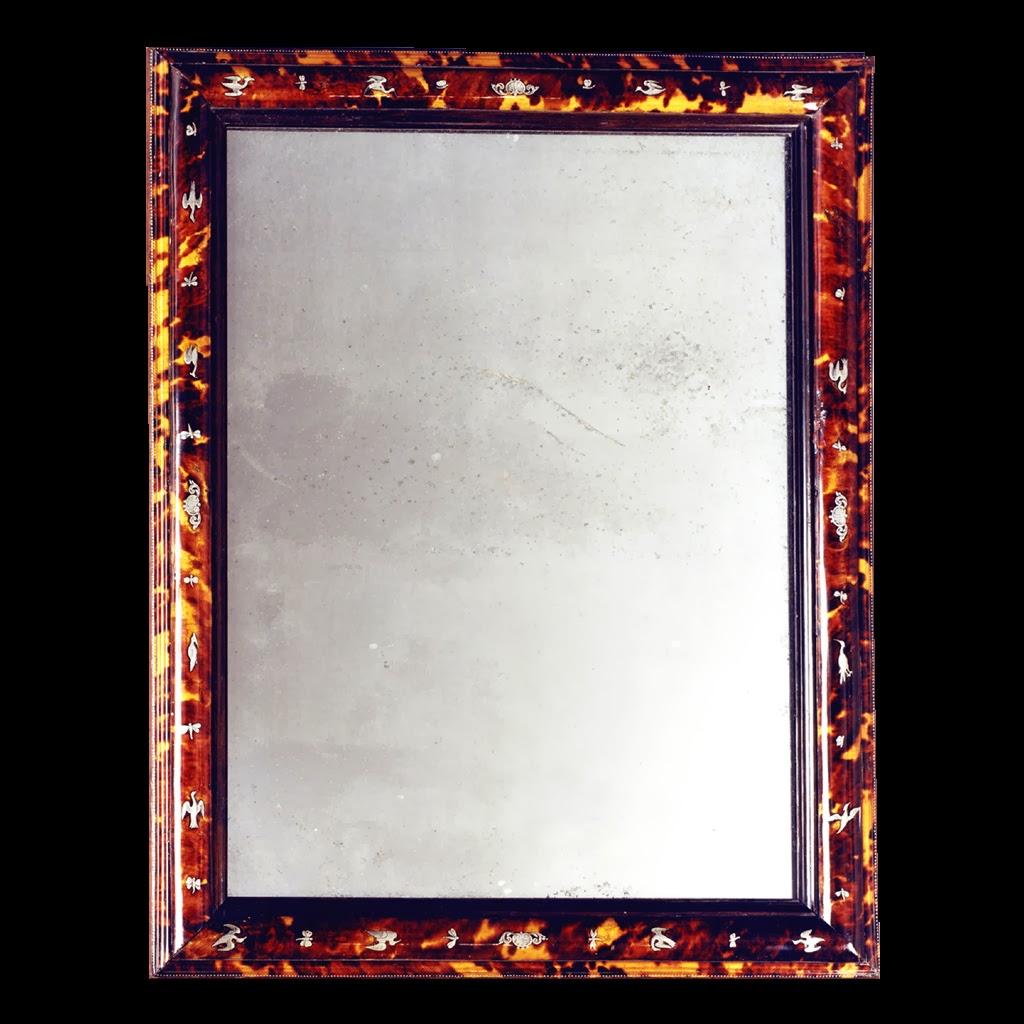 Marqueterie boulle miroir r gence en caille incrust d for Miroir d argent