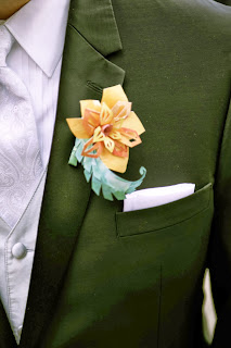 groom wedding paper flower boutonniere