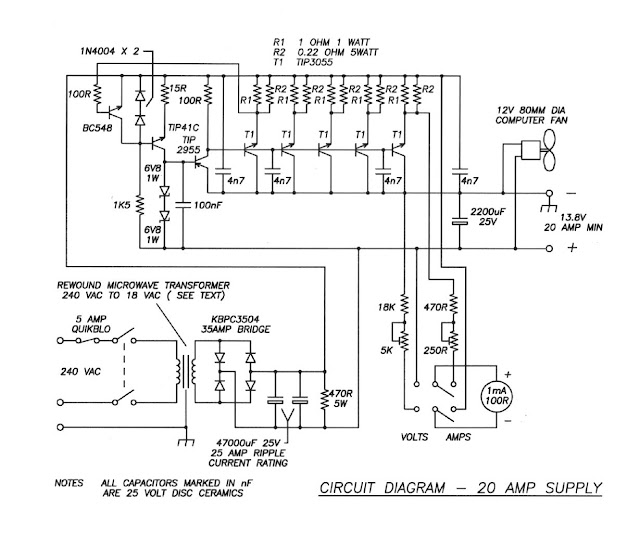12 Volt 20 Ampere Regulator circuit with explanation
