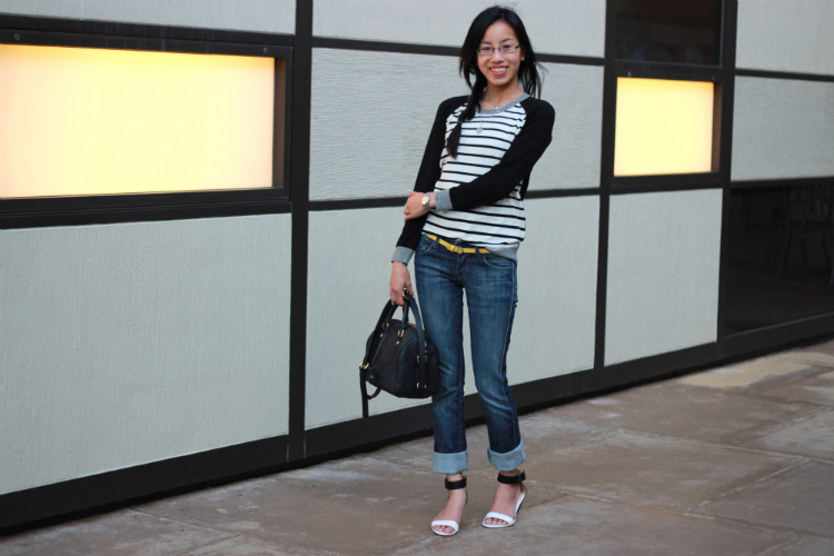 joie striped sweater casual outfit