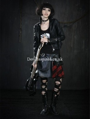 Fashion Plaid Leather Rock Punk Skirt for Women