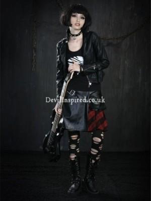 Fashion Plaid Leather Rock Punk Skirt for Women