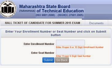 MSBTE Summer 2015 Hall Ticket Admit Card
