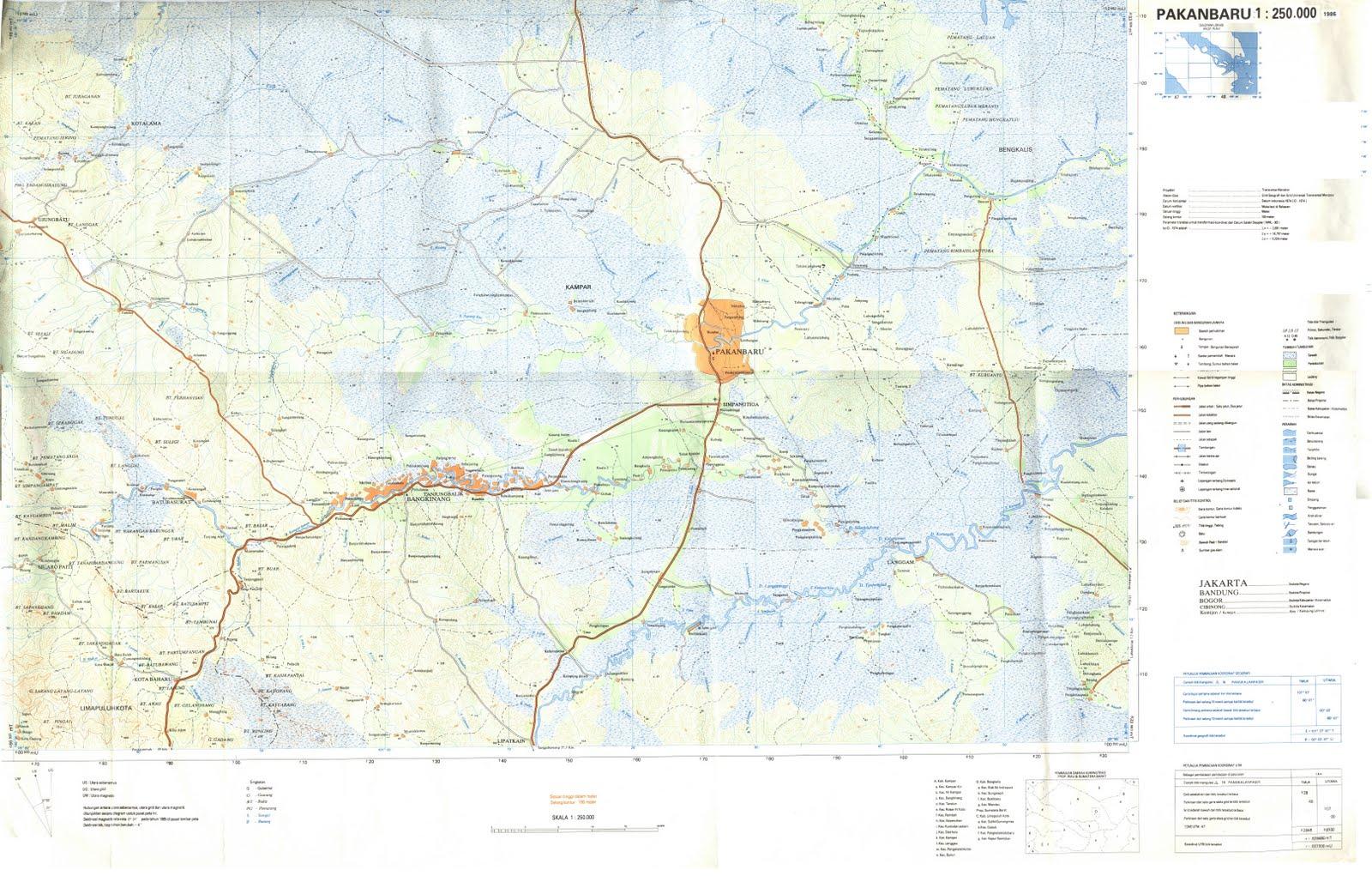 Pekanbaru Indonesia  City new picture : TAKJUB INDONESIA: Peta Topografi Pekanbaru skala 250k
