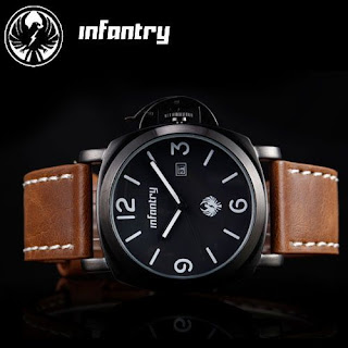 U.S INFANTRY OFFICER DATE ARMY BLACK /BROWN LEATHER SPORTS MENS WRIST WATCH +BOX
