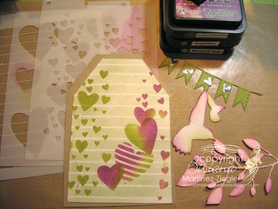 feminine tag with heart stencils step 1