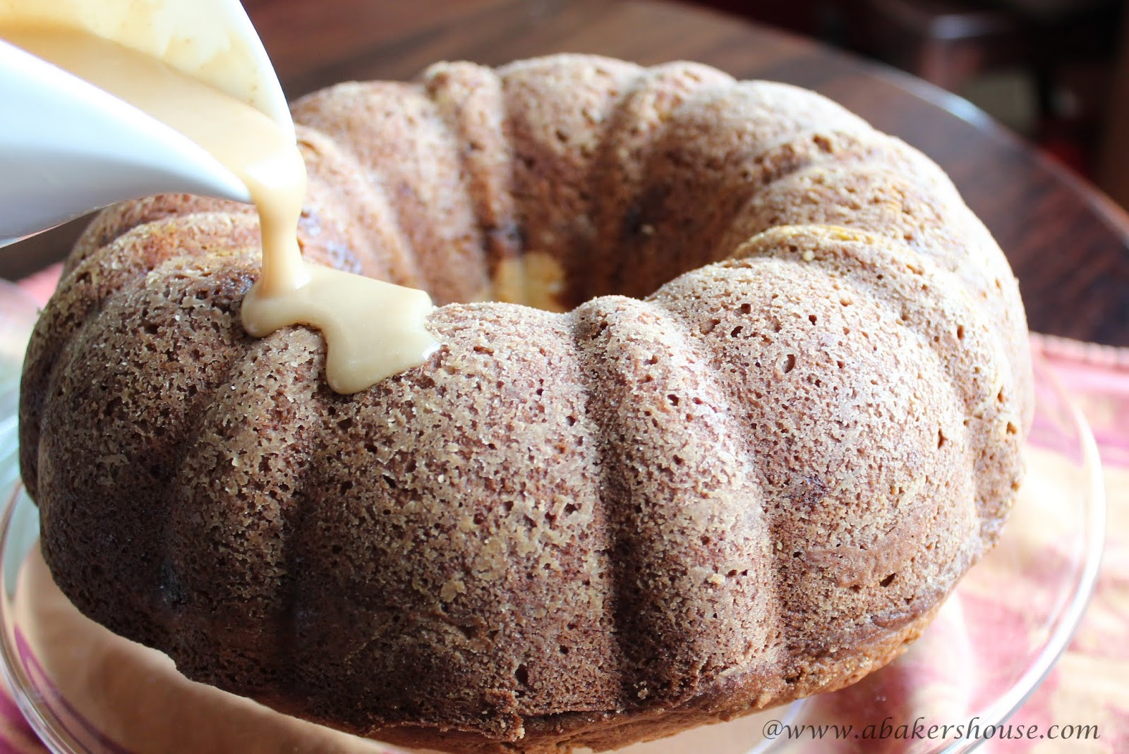 Pumpkin Bundt Cake with Cream Cheese Filling #BundtaMonth