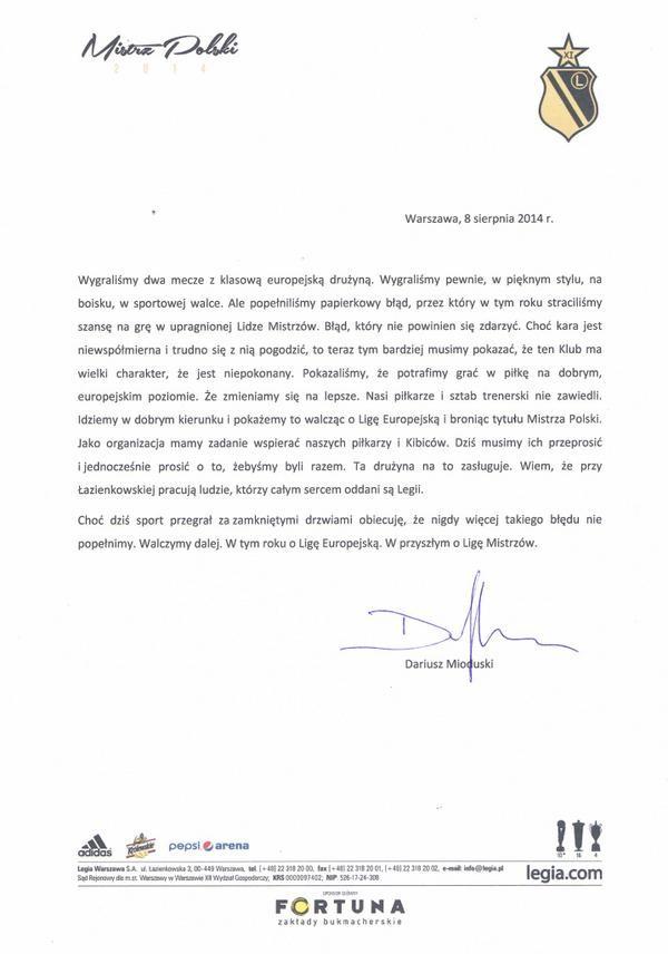 List Dariusz Mioduskiego po walkowerze dla Legii - źródło Legia Warszawa