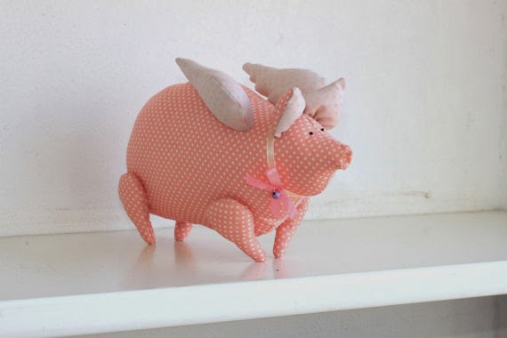 Stuffed pig animal toy - pink polka dot pig - flying pig peach farm animals baby shower centerpiece nursery baby decor