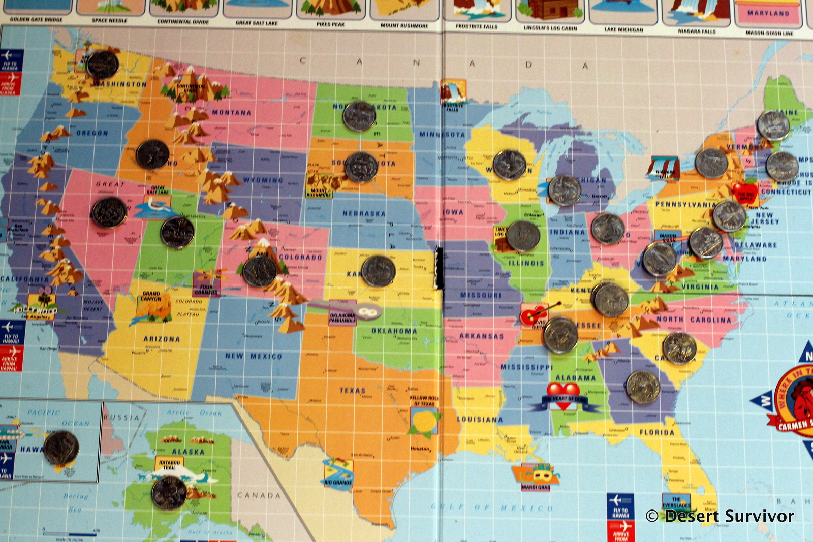 Desert Survivor The State Quarters Games - Us map for collecting quarters