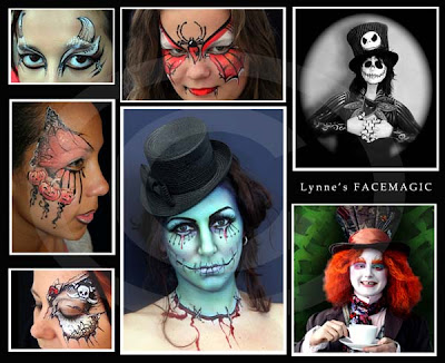 Scary Halloween face painting pictures of green sugar skull, pumpkin eye design, skeleton eye design, Tim Burton's JACK, Horns, Spider butterfly and Mad Hatter