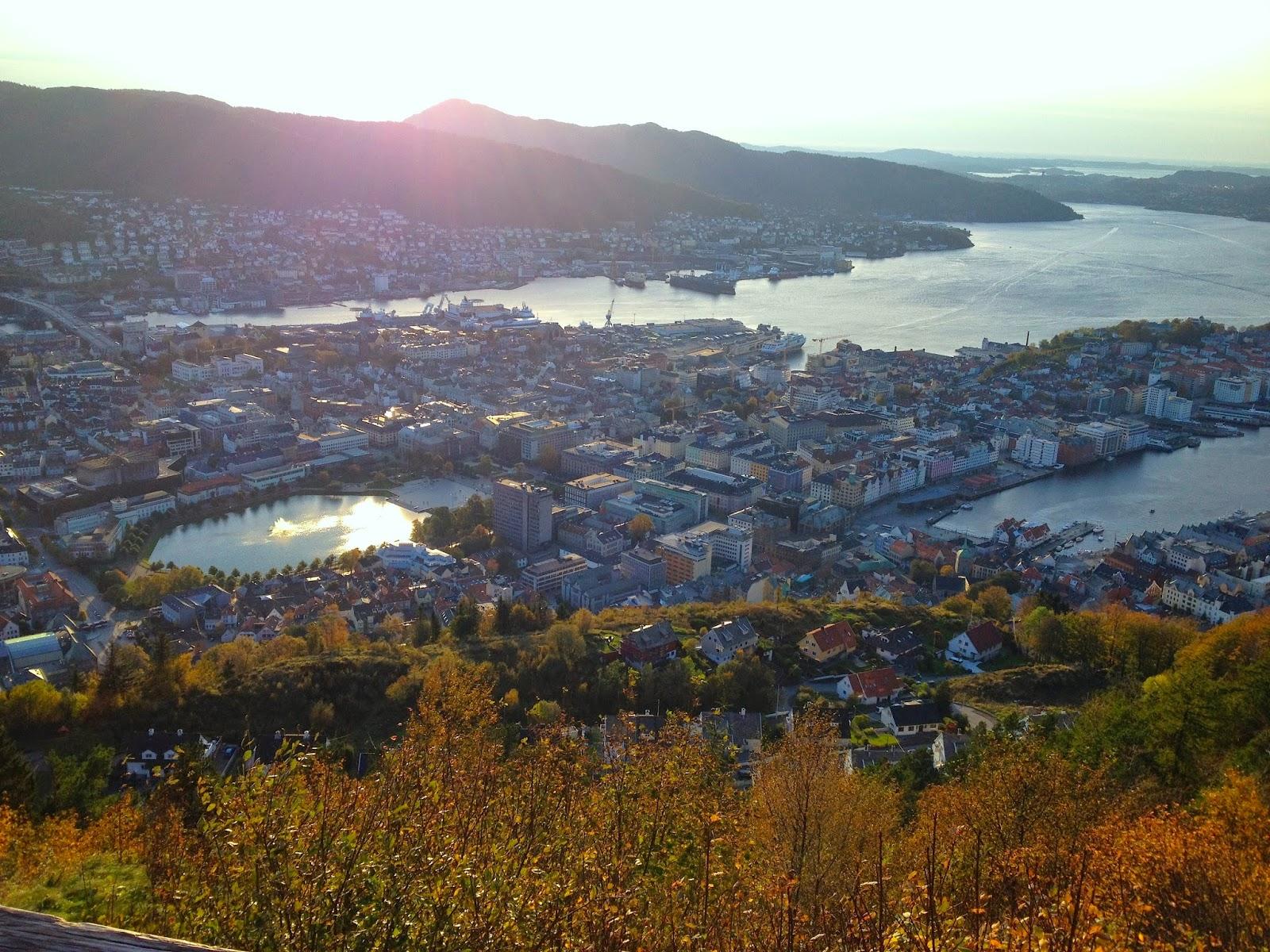 Bergen hiking sunset