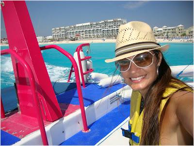 Andando de lancha em Cancun