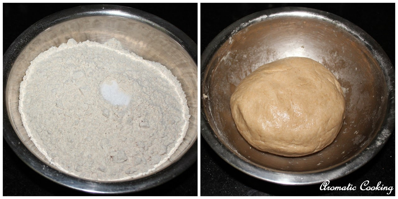 Make a soft dough with the whole wheat flour, salt and water, apply ...