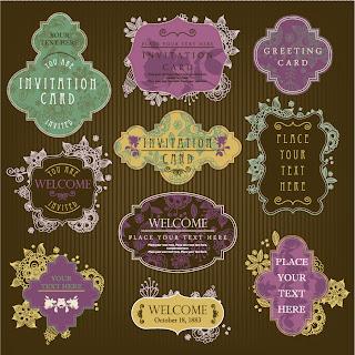 飾りフレームの招待状テンプレート vintage invitation card templates and decorative frames イラスト素材2