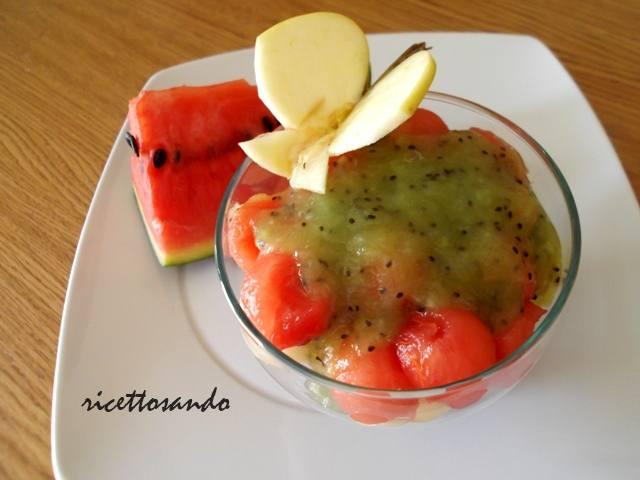 Dessert anguria, mela verde e kiwi