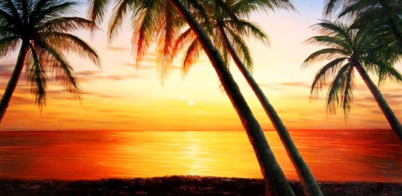 Cuadros pinturas oleos pintura paisajes marinos con palmas - Cuadros de atardeceres ...