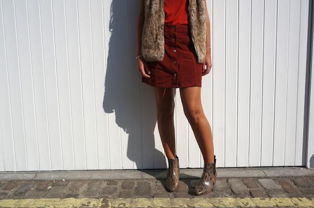 chloeschlothes - jupe en velour boutonnee