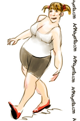 An itching knee is a gesture drawing by Artmagenta fingerpainted on an iphone.