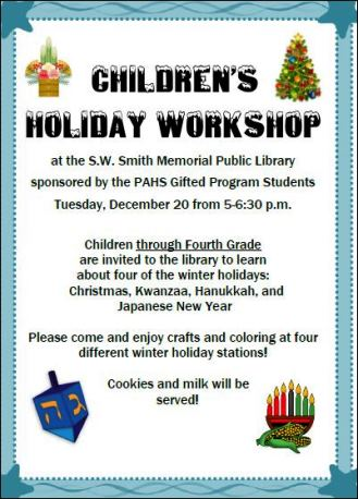 12-20 Childrens Holiday Work Shop S.W Smith Library